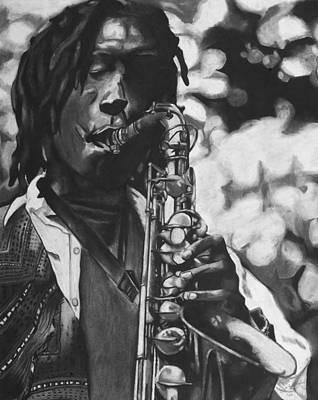 Saxophone Drawing - Jazzy by Chelsea VanHook