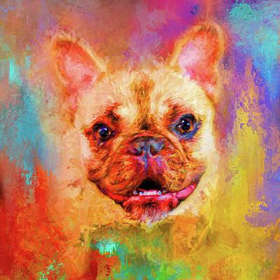 Jazzy French Bulldog Colorful Dog Art By Jai Johnson Print by Jai Johnson