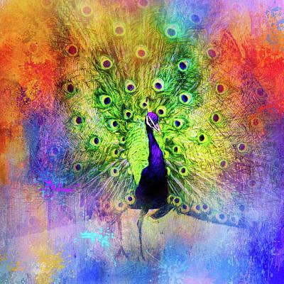 Peacock Mixed Media - Jazzy Peacock Colorful Bird Art By Jai Johnson by Jai Johnson
