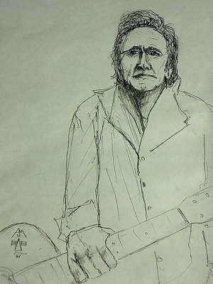 Johnny Cash Drawing - J.c. by Pete Maier