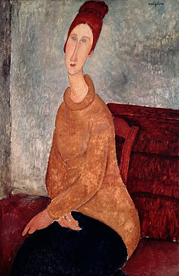 Oil Portrait Painting - Jeanne Hebuterne In A Yellow Jumper by Amedeo Modigliani