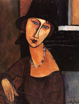 Jeanne Hebuterne With Hat And Necklace Print by Amedeo Modigliani