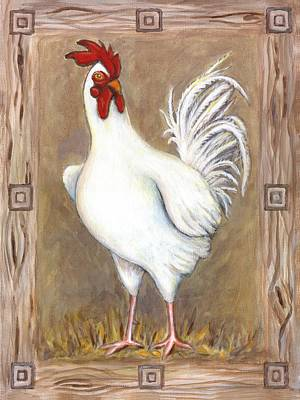 Chicken Painting - Jed The Rooster by Linda Mears