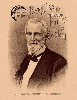 America Mixed Media - Jefferson Davis Vintage Advertisement by War Is Hell Store