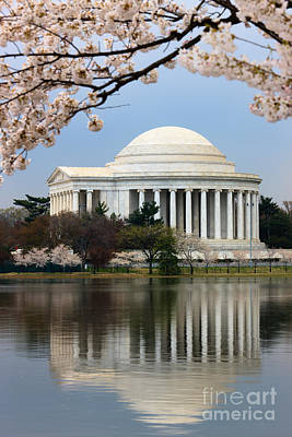 Jefferson Memorial Photograph - Jefferson Memorial And Reflection by Clarence Holmes