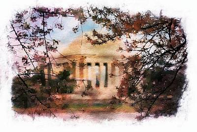 Washington Monument Painting - Jefferson Memorial Watercolor 1 by Scott Fracasso