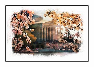 Washington Monument Painting - Jefferson Memorial Watercolor 2 by Scott Fracasso