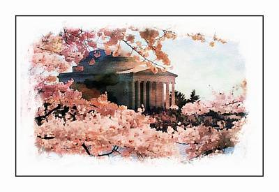 Washington Monument Painting - Jefferson Memorial Watercolor 3 by Scott Fracasso