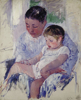 Sitting Painting - Jenny And Her Sleepy Child by Mary Cassatt
