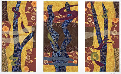 Fabric Mixed Media - Jennys Triptych by Julia Berkley