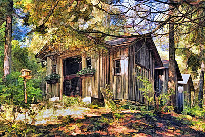 Log Cabin Painting - Jens Jacobsen Museum On Washington Island Door County by Christopher Arndt