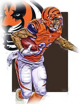 Jeremy Hill Cincinnati Bengals Oil Art Print by Joe Hamilton