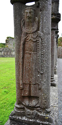 Rustic Photograph - Jerpoint Abbey Ireland Cloister Column Monk Stone Carving County Kilkenny by Shawn O'Brien