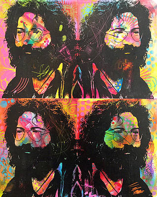 Painting - Jerry Garcia 4x by Dean Russo