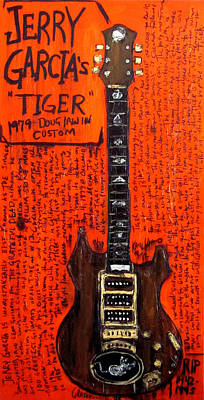 Guitar Painting - Jerry Garcia Tiger by Karl Haglund