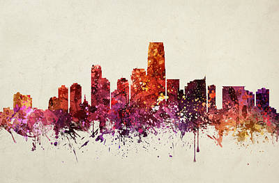 City Scenes Drawing - Jersey City Cityscape 09 by Aged Pixel