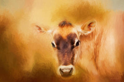 Cow Digital Art - Jersey Cow Farm Art by Michelle Wrighton
