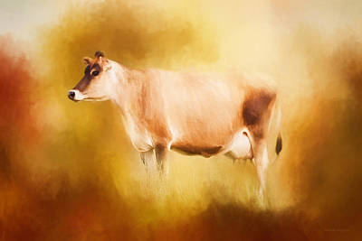 Cow Digital Art - Jersey Cow In Field by Michelle Wrighton