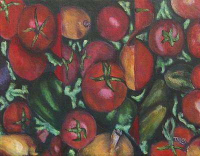 Jersey Tomatoes With A Dash Of Abstract Original by Dennis Tawes