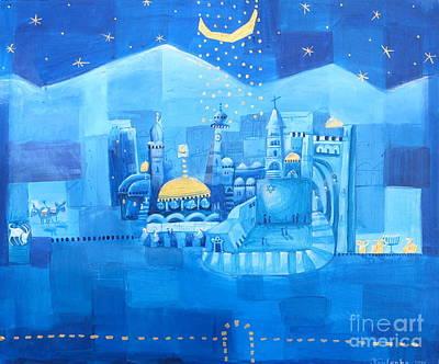 Sepulchre Painting - Jerusalem- Blue Night by Alexandra Krasuska