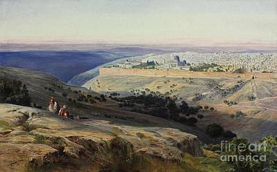 Jerusalem Painting - Jerusalem From The Mount Of Olives Sunrise by Celestial Images