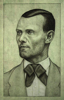West Drawing - Jesse James by James W Johnson