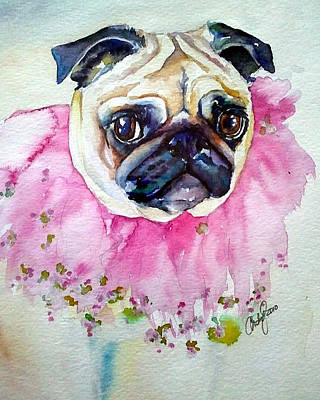 Fawn Pug Painting - Jester Pug by Christy  Freeman