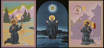 Ignatius Painting - Jesuit Triptych-st Peter Faber-st Ignatius-st Francis Xavier by William Hart McNichols