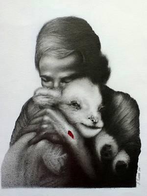 Jesus And The Lamb Print by Stephen Owsinski