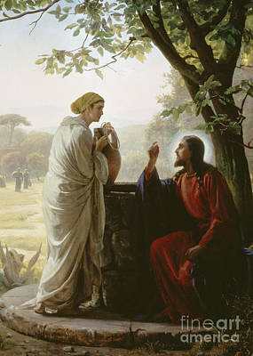 Carl Bloch Painting - Jesus And The Samaritan Woman At The Well by MotionAge Designs
