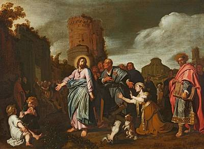 Jesus And The Woman Taken In Adultery Print by Pieter Lastman