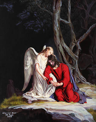 Olive Wood Painting - Jesus At Gethsemane by Rebecca Poole