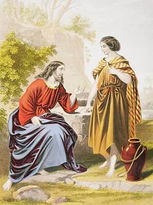 Bible Drawing - Jesus At The Well With The Woman Of by Vintage Design Pics