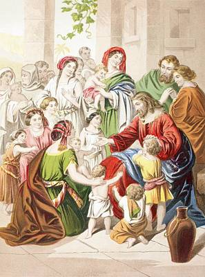 Blessings Drawing - Jesus Blessing Little Children. Suffer by Vintage Design Pics