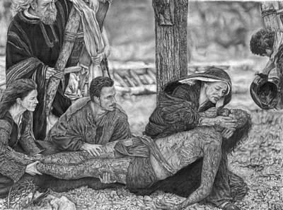 Redeemer Drawing - The Pieta by Hanna Asfour