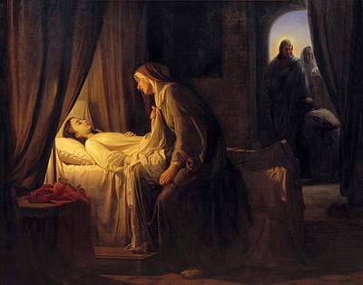 Jairus Painting - Jesus Christ Raising Daughter Of Jairus by Carl Bloch