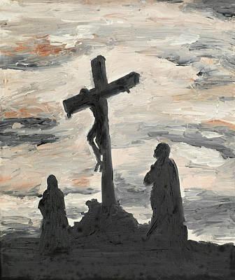 Human Sacrifice Art Painting - Jesus Crucified On Golgotha by Dan Comaniciu