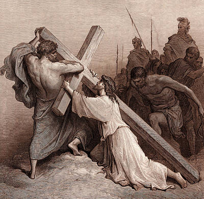 Falling Drawing - Jesus Falling Beneath The Cross by Gustave Dore