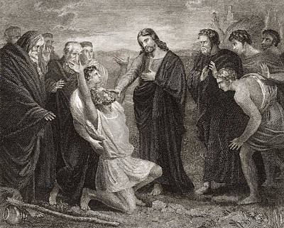 Miraculous Drawing - Jesus Healing The Blind. From A 19th by Vintage Design Pics