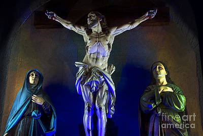 Mother Mary Photograph - Jesus On The Cross - Azogues by Al Bourassa