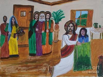 Jairus Painting - Jesus Raises A Dead Girl by Seaux-N-Seau Soileau