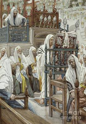 Synagogue Painting - Jesus Unrolls The Book In The Synagogue by Tissot