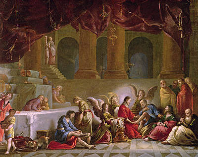 Disciples Painting - Jesus Washing The Disciples Feet  by Claude Vignon