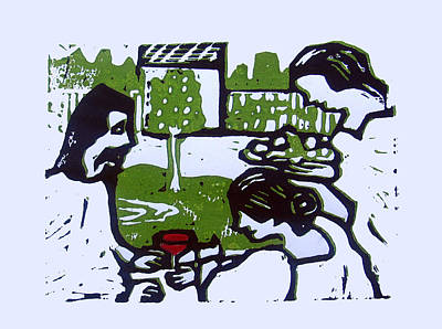 Lino Drawing - Jesus With Mary And Martha by Adam Kissel