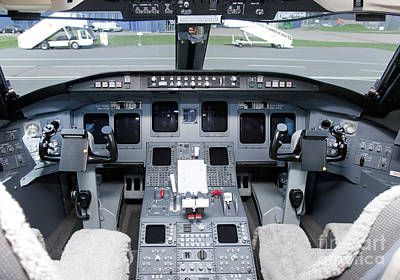 Airline Industry Photograph - Jet Airplane Cockpit by Jaak Nilson