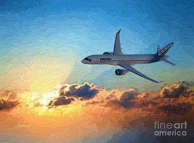 Airliners Mixed Media - Jet In The Sunset by Garland Johnson