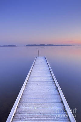 Netherlands Photograph - Jetty On A Still Lake In Winter In The Netherlands by Sara Winter