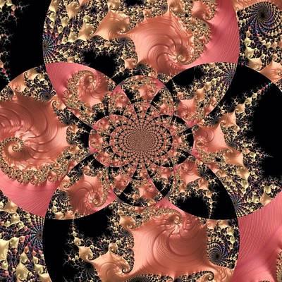 Jeweled Peach And Black Fractal Print by Maggie Vlazny