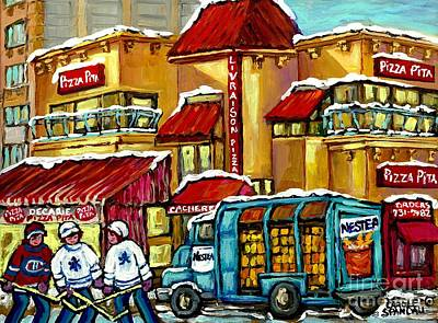 Montreal Storefronts Painting - Jewish Montreal Restaurant Hockey Art Winter Scene Pizza Pita Kosher Decarie Diner Canadian Painting by Carole Spandau