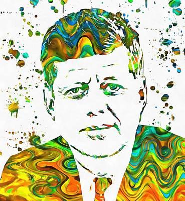 Politician Mixed Media - Jfk Paint Splatter by Dan Sproul